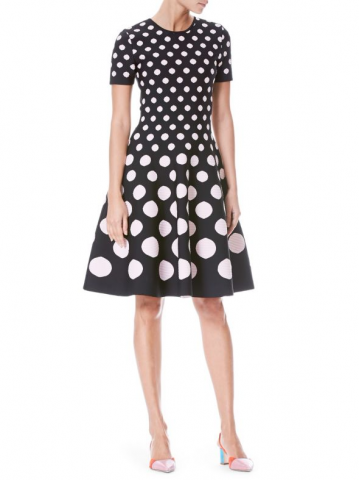 Polka Dot Knit A-Line Dress