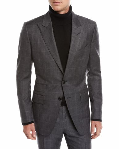 Windowpane Check Wool Suit